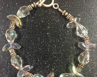 Sterling Silver Crystal & Glass Beaded Bracelet Toggle Clasp