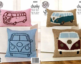 King Cole Knitting Pattern 4324~Camper Van Cushions~Super Chunky~2 sizes