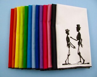 NAPKINS - super soft eco friendly reusable napkins - you choose how many - with SKELETON LOVE print on any of my thirteen colors