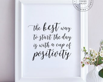 """Printable Art, positive quote, typography, home decor, motivational words """"the best way to start the day is with a cup of positivity"""""""