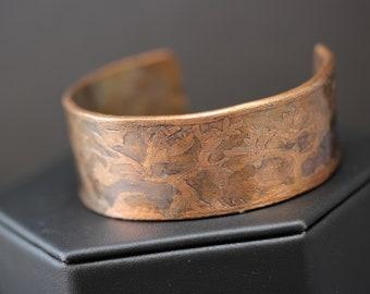 Beautiful Etched Copper Cuff Bracelet (041318-009)