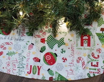 Christmas Tree Skirt-Christmas Words-Joy-Love-Holiday Decor-Christmas Tree-Holiday Decoration-Ornament-Candy Cane-Gingerbread House