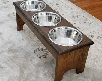 Large 3 Bowl Dog Feeder, Personalized Dog Feeder, Raised Pet Feeder,  Dog Feeder with Name, Elevated Pet Feeder, Custom Dog Feeder, Pet Gift