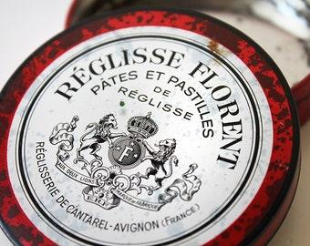 Tin Box, French Enamel Box, Reglisse Florent Round Pastille, Vintage Tin Collectible