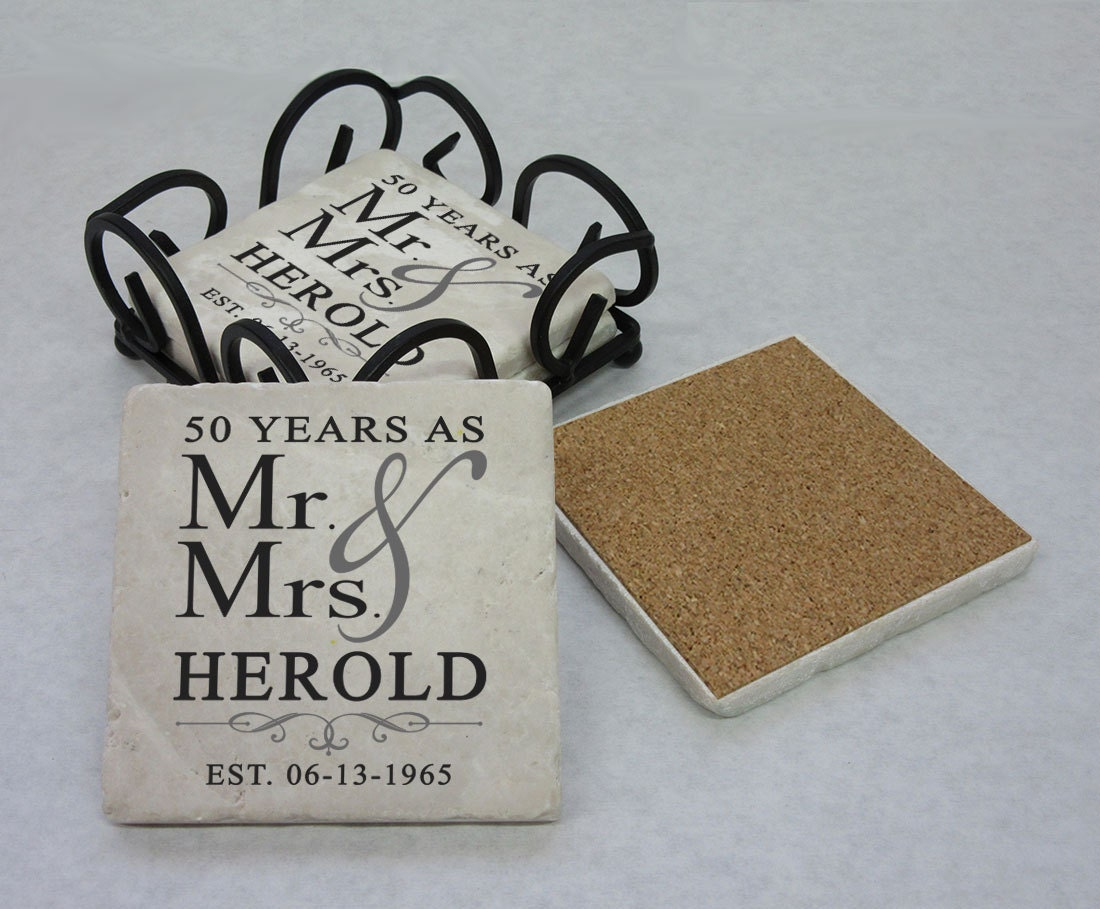 50th Wedding Anniversay Gifts: 50th Anniversary Gift Tumbled Stone Coasters 25th