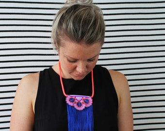 STATEMENT FESTIVAL NECKLACE in lilac, fluorescent orange, glittery blue and purple. Fringe necklace. U.V reactive jewellery. Colourful