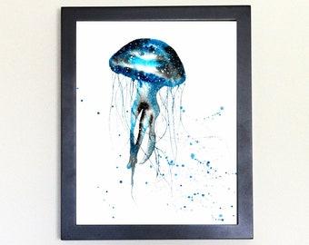 Jellyfish Art Print, Galaxy Spirit Animal Watercolor 8x10
