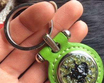 Black Tourmaline N Peridot Keychain Snuffer