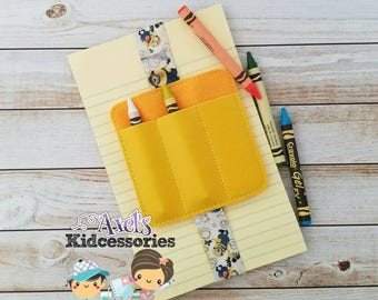 Crayon Holder - Crayon Caddy - Crayon Coloring Bookmark - Bookmark - Notebook Band - Pen Holder - Accessories for kids - Coloring