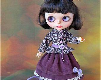 Blythe  Outfit  Purple Jacket and Skirt,  Dress for Blythe, Doll Clothing, Clothes for Blythe, Doll Clothes OOAK, doll dress