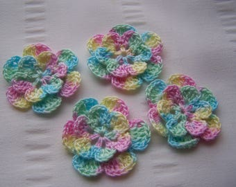 Appliques hand crocheted flowers embellishment set of 4 in soft pastel cotton 1.5 inch