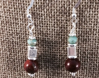 Dangle Earring, Drop Earring, Sterling Silver Earwires, Jasper
