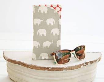 Eyeglass Case   Glasses Case   Grey Elephant Monogram Cases for Oversized glasses   Fabric Eyeglass Holder   Gray Eyeglasses Case in Fabric