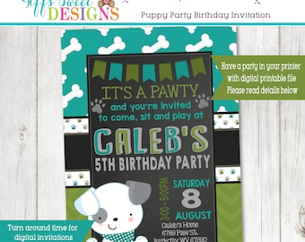 Puppy Party Invitation - Puppy Paw-ty - Paw party - Dog Invitation - Puppy Invitation - Chalkboard