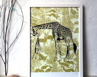 "Giraffes - archival fine art print - A3 // 29,7x42 cm / 11.7 x 16.5""// Poster, Wall Art, Wildlife, Motherlove, Mother and Child, Family"