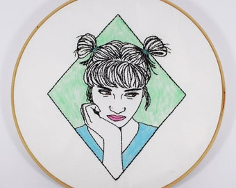 Contemporary Finished Hand Embroidery Hoop *Rebel*, One of a kind, Gift, Hoop Art