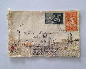 Envelope Art with textile - Greek