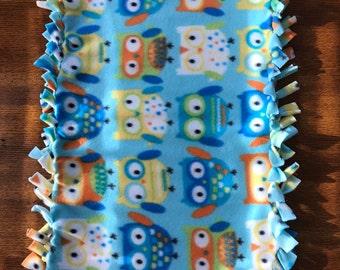 Baby security blanket/teether blue owls