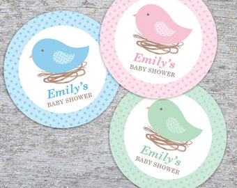 Personalized Bird Nest Baby Shower Cupcake Toppers, Favor Tags or Stickers – 2, 2.25 or 3 Inch Circles – DIY Printable (Digital File)