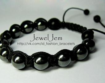 Shamballa Jewels Bracelet hematite, shungit, 10mm Bead, cord