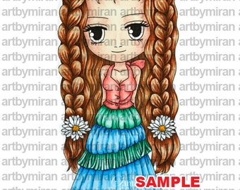 Digital Stamp-Annabelle(#86), Digi Stamp, Coloring page, Printable Line art for Card and Craft Supply