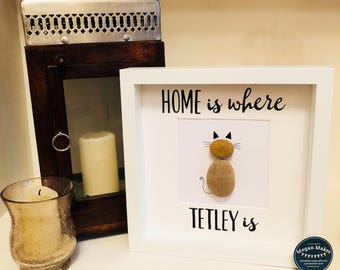 Personalised cat lovers pebble art, home is where your cat is, 9x9 inch box frame