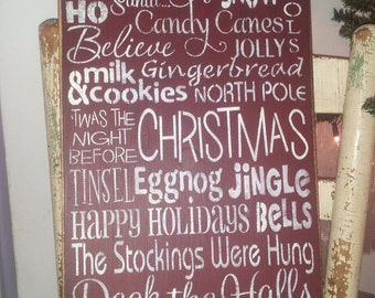Primitive Christmas Subway Art Typography Wooden Sign