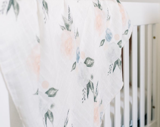 Featured listing image: Baby Swaddle Blanket - Organic Watercolor Blush and Blue Floral Gauze Swaddle | the Layla | Exclusive print to Finn & Olive