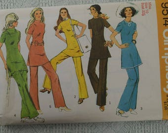 Simplicity Sewing Pattern 9514 tunic and pants from 1971 size 10