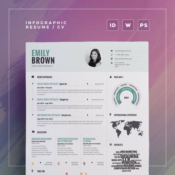 infographic resume vol 1 word indesign and photoshop