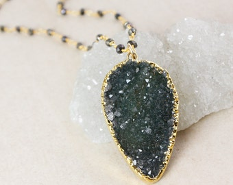 50% OFF SALE - Druzy Layering Necklace – Green or Blue-Grey Druzy – Black Pyrite Chain