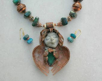 Angel of Good Health, Pure Copper Pendant, Chrysoprase Stone, Concrete Face, Chrysocolla & Copper Beads, Copper Collection, by SandraDesigns