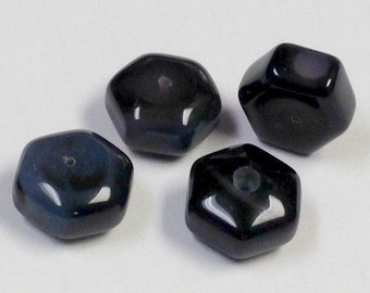 Vintage BLACK ONYX Spacer Beads Hexagon Faceted 12-13mm pkg4 cb175