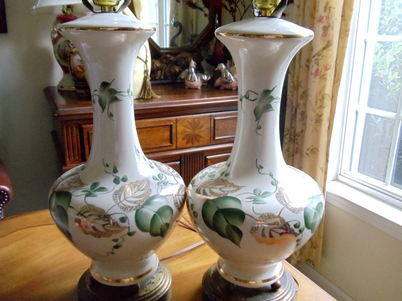 Vintage Mid Century Leviton Large Table Lamps Set of 2 Large