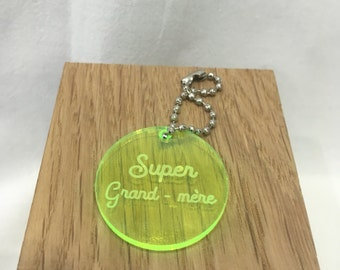 Fluo yellow door keys medailllon plexi great grandmother, customisable, customizable with name, phone number, any sentence
