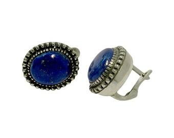 SALE Blue Lapis Lazuli Earrings, Sterling Silver Earrings, Vintage Earrings, Gemstone Earrings