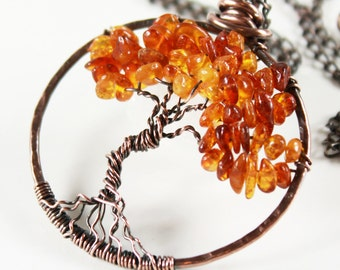 Amber Tree of Life Necklace, Copper wire wrapped honey yellow gemstone talisman pendant, holiday gift for her, birthday gift, Mother's day