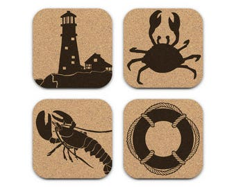 Lighthouse Crab Lobster Life Preserver Nautical Coastal Cork Coaster Set Of 4 Home Decor Barware Decoration