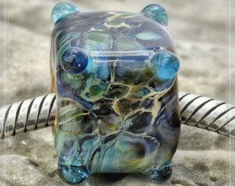 glass stone, Cube Collection Original Nemo Glass Bead, SRA, 11 x 13 mm OOAK