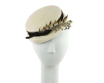 Off White Fascinators, Cream Hat, Mother of the Bride Fascinator, Ecru Wedding Hat, Womens Hat, Church Hat, Off - White Hat, Light Taupe Hat