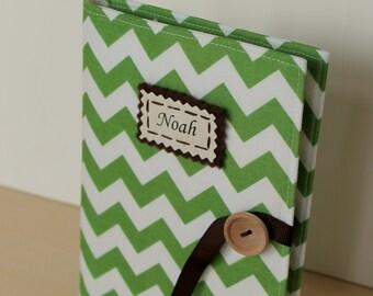 emerald green chevron personalized photo album brag book multiple color options