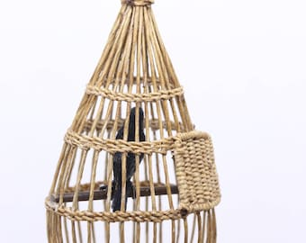 Miniature bird cage with black bird by Audrey Hughes of New Zealand - 1:12th scale