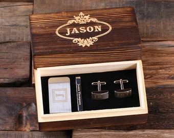 Set of 2 Personalized Gentleman's Gift Set Cuff Links, Money Clip, Tie Clip Groomsmen, Father's Day and Dad Men Boyfriend Christmas (025332)