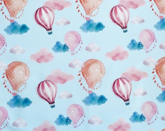 Hot Air Balloon Blue Sky Print on 100% Cotton Fabric - Pink Navy & Red - by the metre - UK SELLER (F3)