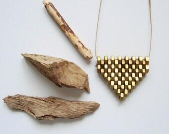 Geometric brass necklace hex nuts jewelry Minimalist necklace Brass beaded necklace Big statement necklace Gold Brass jewelry Minimalist