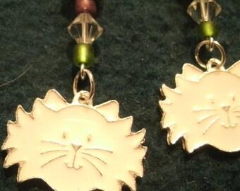 White Enamel Kitty Cat Charm Beaded Dangle Earrings