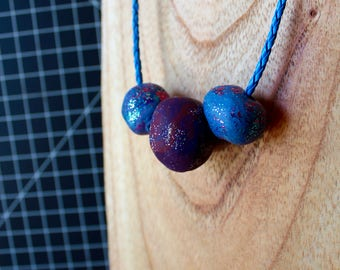 handmade polymer clay litter swirl beaded necklace