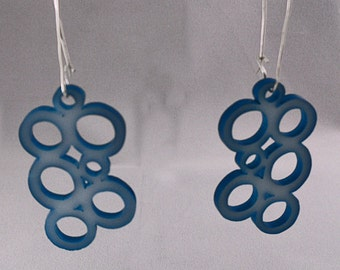 Enameled and Acrylic Bubble Earrings in Teal