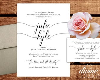 Customizable Simple Floral Wedding Announcements - LDS Weddings - Printable or we Print! - Black and White - ANY COLOR - Cardstock