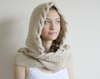 Beige Tweed  Wool Hooded Cabled  Long Scarf  Cowl Mothers Day gift Under USD100